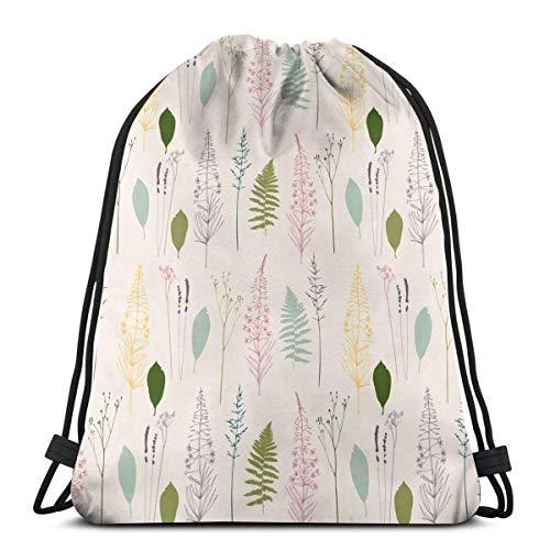 MAY-XCustom Gymsack,Floral Fireweed Flowersdill Nature Drawstring Einkaufstasche, Premium Drawstring Cinch Taschen Zum Klettern Wandern Reisen