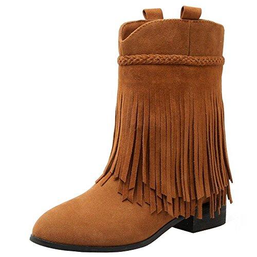 RAZAMAZA Klassische Damen Stiefeletten Fransen Stiefel (33 EU, Light Brown)