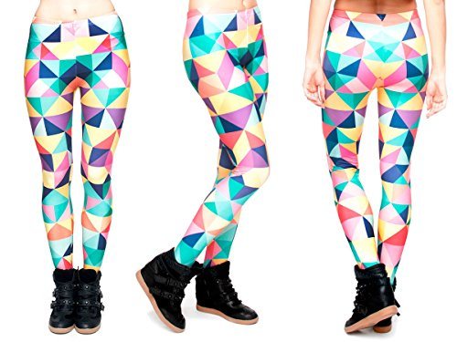 Alsino Leggings Damen Bedruckt Sexy Leggins Ladies mit Print Look Motiv Muster Stretch Legins Hose, wählen:LEG-050 Muster bunt