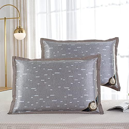 Funda de almohada de seda de hielo de doble cara radiante suave y transpirable con cremallera invisible marrón 50 x 75 cm