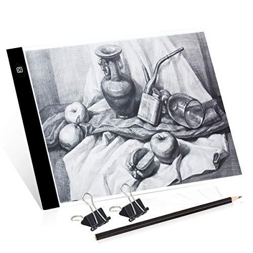 Mesa de Luz A4, Caja de Luz Portátil con USB, Control Táctil Stepless ajustado,Sin escala,Dibujo Portátil Almohadilla de Luz para Dibujo de Copia, Animación, Bocetos, Stencilling, etc.