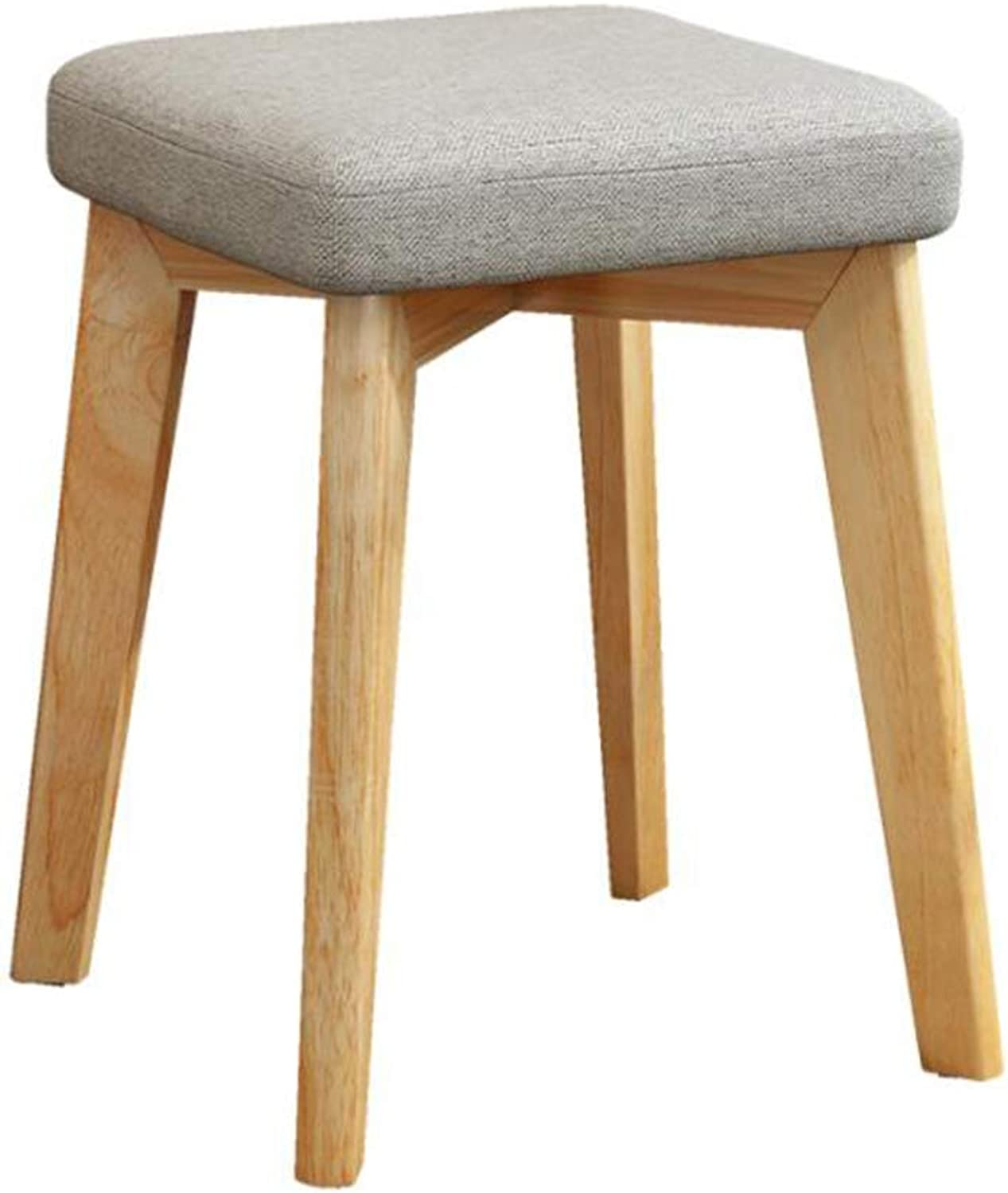 Wooden Dining Stool Modern Makeup Chair Home Dining Stool Adult Fabric Soft Surface Stool