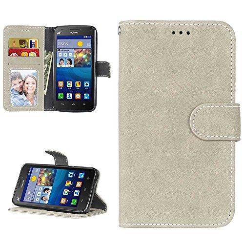 Huawei Y635 Hülle Leder Tasche, Huawei Y635 Handyhülle Klassisch Brieftasche Stoßfest Schutzhülle Elegant Handytasche Flip Hülle Cover Magnetverschluss Schale Standfunktion, Grau