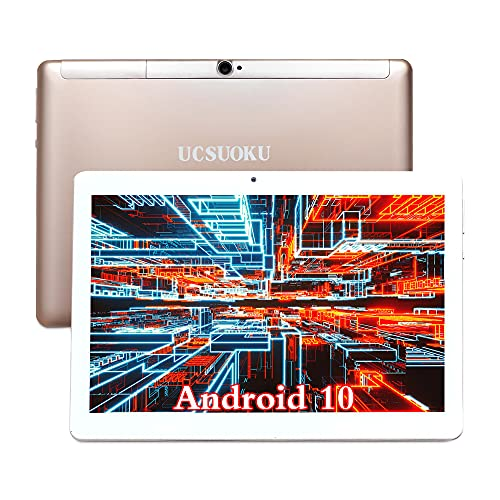 UCSUOKU Tablet 10 Zoll Android 10.0 System,Deca-Core Processor, 4GB RAM, 64GB eMMC,4G LTE Phablet 10.1 Tablet PC IPS HD Display, Dual SIM Phone Call, Bluetooth/WiFi/GPS/Google Certified(Gold)