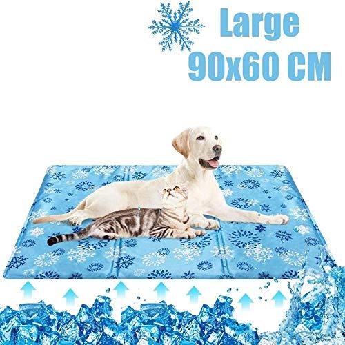 URPRU Haustier Matte Kühlmatte für Hunde Katzen Käfig Hundehütte und Betten – hält Haustiere kühl im Sommer Wärmeleitpad-L
