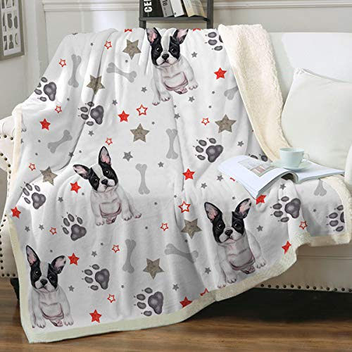 Sleepwish French Bulldog Sherpa Fleece Blanket Throw(50'x60') Cute Puppy Dog Couch Sofa Plush Fuzzy Blanket Grey 3D Animal Super Soft Cozy Blanket for Kids Teens Boys