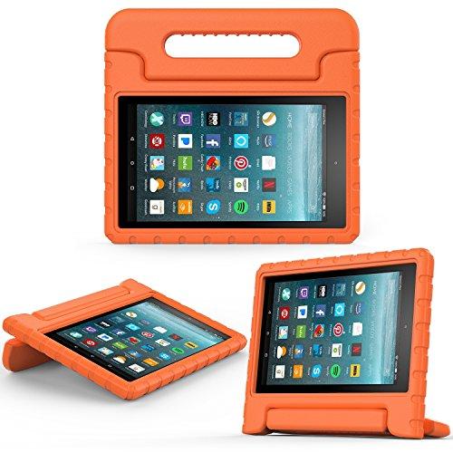 MoKo Hülle für All-New Amazon Fire 7 Tablet (7 Zoll - 7. Generation, 2017 Modell) - Superleicht Eva Stoßfest Kinderfreundlich Kinder Schutzhülle für das Neue Fire 7 2017, Orange