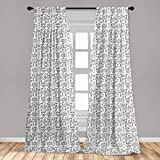 Lunarable Football Curtains, Cup Ball Cheerleader Player Sneakers Sports Equipment Sketch Pattern, Window Treatments 2 Panel Set for Living Room Bedroom Decor, 56' x 63', Charcoal Grey and White