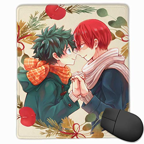 Heroaca Bnha Anime Tododeku Kawaii Deku Love Fanart Mouse Pad for Laptop, Portable Durable Mouse Mat with Stitched Edge, Cool Keyboard Pad for Teens - 9.8x11.8 in