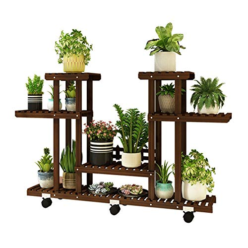 Estantería para Plantas de Madera, Soporte de Flores de Varios Niveles, Estante de Planta con Ruedas, Escalera Decorativa para Macetas Exterior Interior Jardín Bonsái
