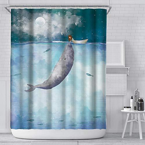 lxianghao Polyester Badezimmer Vorhang Antischimmel Wasserabweisend Wal Duschvorhang Set Mit Duschvorhang Haken Für Badezimmer Bad Dusche 100 X 180 cm