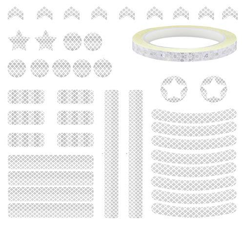 Keleily Reflektoren Aufkleber 43 Stück Reflektoren Fahrrad Reflektorband Selbstklebend Weiß Reflektorfolie Fahrrad wasserfest Reflektierende Folie für Fahrzeuge, Autos, Helme, Motorräder, Fahrräder