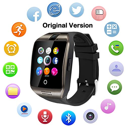 Upgraded Large Screen Smart Watch with Camera, Waterproof Touch Screen Smartwatch with SIM Card Slot, Unlocked Watch Cell Phone for Android Phones (Black)