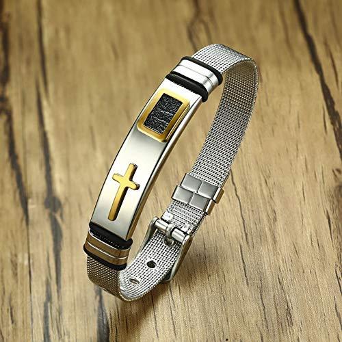 Armband Verstelbare Lengte Bangle Horloge Band Ontwerp RVS Net Band Christus Cross Gebed Sieraden