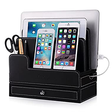 For RAVPower 60W 12A 6-Port USB Charging Docking Stand,EasyAcc Double-deck Multi-device Charging Station Stand for 40W 4-Port Charger and Tablets iPhone X 8 Note 9 S9 Leather Organization Docks- Black
