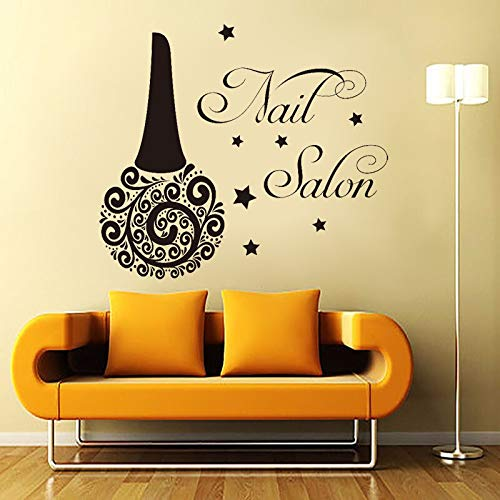 Beauté Manucure Salon Sticker Mural Vinyle Nail Bouteille Polonais Vernis Main Beauté Stickers Muraux Nail Salon Fenêtre Verre Décor