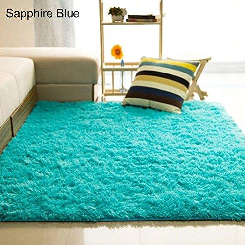 Originaltree Alfombra para salón o dormitorio, suave, antideslizante, rectangular, alfombra de área, azul (zafiro), 80*120cm