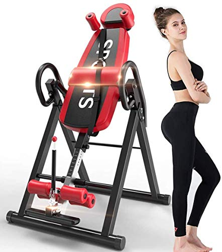 LJYY Gravity Heavy Duty Inversion Table with Headrest & Adjustable Protective Belt Back Stretcher Machine for Pain Relief Therapy Body Xtreme Fitness Heat and Massage Therapeutic Inversion Table
