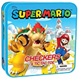 USAOPOLY Super Mario Checkers & Tic-Tac-Toe Collector's Game Set | Featuring Mario & Bowser | Collectible Checkers and TicTacToe Perfect for Mario Fans, Model Number: CM005-637-002001-06