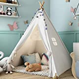 Sumbababy Teepee Tent for Kids with Carry Case, Natural Cotton Canvas Teepee Play Tent, Toys for Girls/Boys Indoor & Outdoor Playing