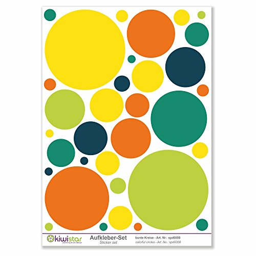 Kiwi Star Cercles, 33, Cercles colorés Autocollants de décoration Murale Arc Stickers Couleur Surface Totale :, Mehrfarbig, Bogengröße_A3 ca. 40x30cm