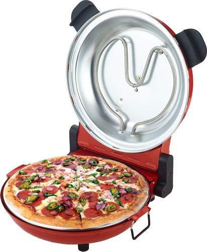 Osolemio Ofen Pizzaofen 1200 W – 400 °C – [Neuheit schwarzer Schamottstein] – Durchmesser 30 cm - Braten von Pizza in 5 min. - Doppelter energieeffizienter Widerstand 15 Minuten Timer