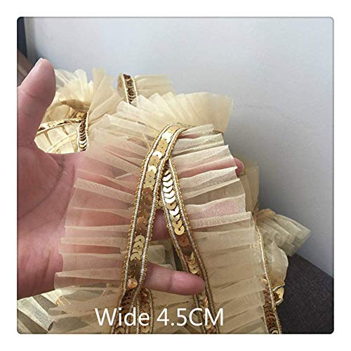 MxZas 4.5CM Wide Golden Sequins Beaded 3D Pleated Lace Fabric Applique Ribbon Trim For Curtain Women Dress DIY Folded Sewing DIY Sewing Supplies (Size : Golden) Jzx-n (Size : Golden)
