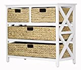 Heather Ann Creations Vale Collection Bohemian Storage Dresser With Four Removable Basket Drawers, Wicker Finish, White/Wicker