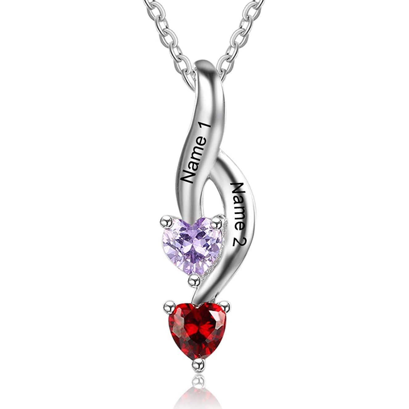 OPALSTOCK Personalized Name Necklace for Women with 2 Heart Simulated Birthstone Custom Couple Pendant Necklace for Her