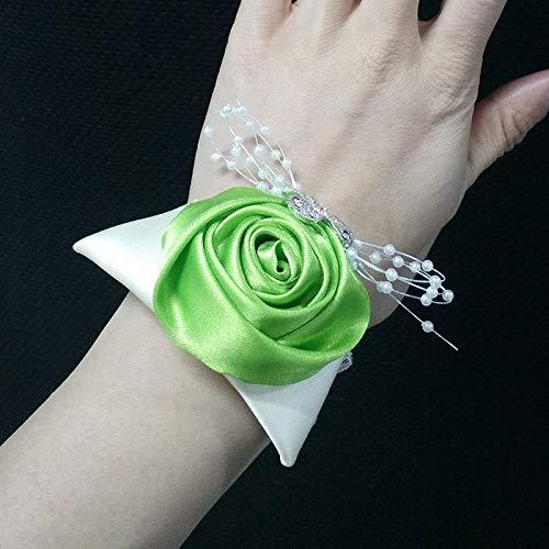 Bracelet de poignet de mariée fait à la main en perles de cristal (couleur : vert gazon, taille : diamètre 6 cm)