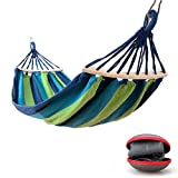 EASY EAGLE Outdoor Cotton Hammock, 200 x 100 cm, Max Load Capacity 300 kg, Garden Hammock with Wooden Spreading Bars and Carry Bag, Perfect Use for Yard, Camping, Beach and Patio, Green-blue Stripes