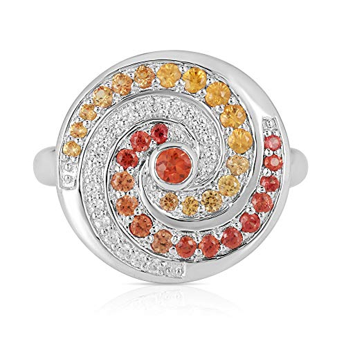 Orange Sapphire and Zircon Swril Cluster Ring in 925 Sterling Silver for Women and Girls, 1.26 carat Size K (N)