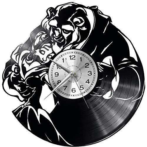 WoD Die Schöne und das Biest Wanduhr Vinyl Schallplatte Retro-Uhr groß Uhren Style Raum Home Dekorationen Tolles Geschenk Uhr