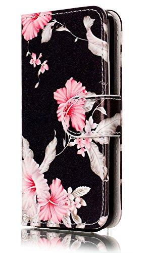 iPhone 5C Case, iPhone5C Wallet Case, 5C Case,JanCalm Flower Pattern Premium PU Leather Wallet [Card/Cash Slots] Stand Magnetic Flip Folio Case Cover for Apple iPhone 5C + Crystal Pen (Black/Flower)