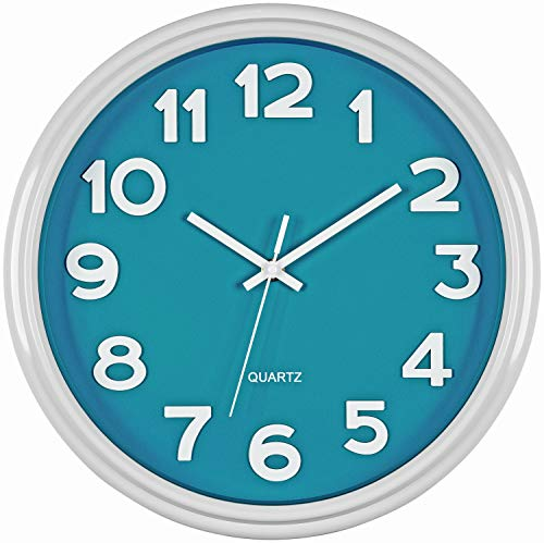 Bernhard Products Teal Wall Clock 12.5 Inch Silent Non-Ticking Modern Stylish Quartz Clocks for Home Kitchen Office Bedroom Room Nursery Kids School Classroom Battery Operated Easy to Read