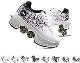 FGERTQW - Patines en línea unisex para niños, multifunción, 2 en 1, automáticos, retráctiles, con ruedas, para niños y niñas, zapatillas de entrenamiento al aire libre,color rosa 36