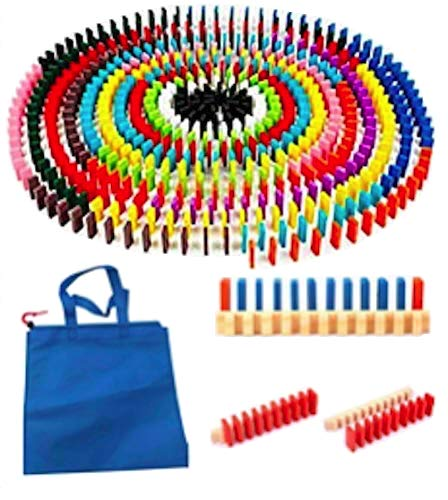 Winning 12色×20個=240個 木製 カラー ドミノ 積木 44×20×7mm 【ドミノ240個&手提げ付き収納袋&並べる用...