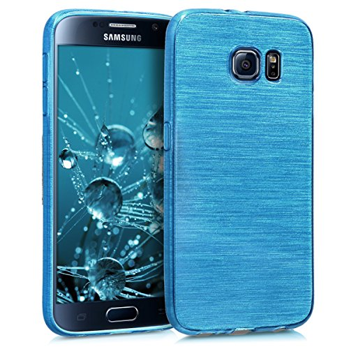 kwmobile Hülle kompatibel mit Samsung Galaxy S6 / S6 Duos - Handyhülle - Handy Case Brushed Aluminium Türkis Transparent