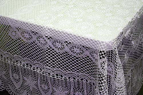 Our White Vinyl Crochet Tablecloth has a Beautiful Crochet Design Throughout, 72 Inches Round, EZ Care