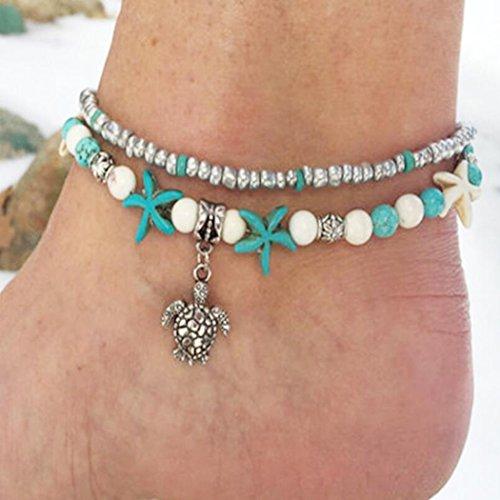 Jovono - Tobilleras simples, multicapa, cadena de pies, colgante de tortuga, adorno de pie, tobilleras, pulseras para mujeres y niñas