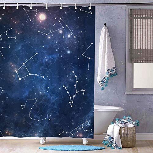 Free Brand Universe Night Galaxy - Cortina de ducha con diseño de estrella del zodiaco – Sin olor – Cortina de baño de tela para baño de ducha, bañeras, forro impermeable de 182 x 182 cm
