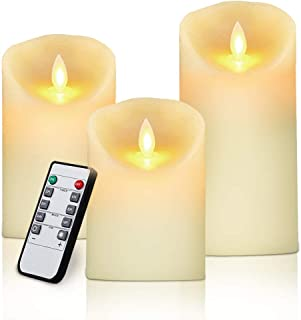 """LED Flameless Candles 4"""" 5"""" 6"""" Set of 3 Ivory Dripless Real Wax Pillars Include Realistic Dancing LED Flames and 10-Key Remote Control with 24-Hour Timer Function 400+ Hours by 3 AAA Batteries"""