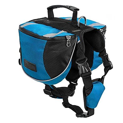 Lifeunion Hunde-Satteltaschen aus Polyester, für Reisen, Camping, Wandern, für kleine, mittelgroße und große Hunde, mit faltbarem Futternapf (M, Blau + Napf)