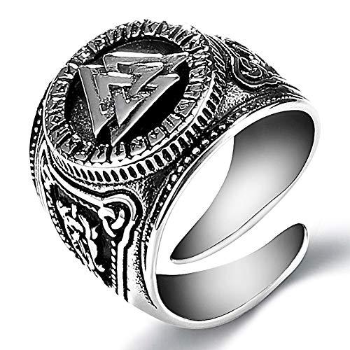YANGFJcor Anillo Valknut Guerrero Vikingo nórdico Retro, símbolo de Odin de Acero Inoxidable para Hombres, Amuleto, protección escandinava, joyería auténtica, tamaño 8-12,11