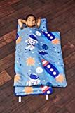 EVERYDAY KIDS Toddler Nap Mat w/Removable Pillow -Outer Space Adventures- Carry Handle with Straps Closure, Rollup Design, Soft Microfiber for Preschool, Daycare, Travel Sleeping Bag - Ages 3-6 Years