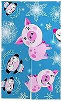 TINZZEROS のれん おしゃれ 子豚とペンギン、青色の背景にクリスマスのパターン カーテンのれん 涼簾 多色 プライベート 室内 プライベート空間 日除け 涼簾 脱衣所 突っ張り棒付き 幅70㎝×丈150㎝