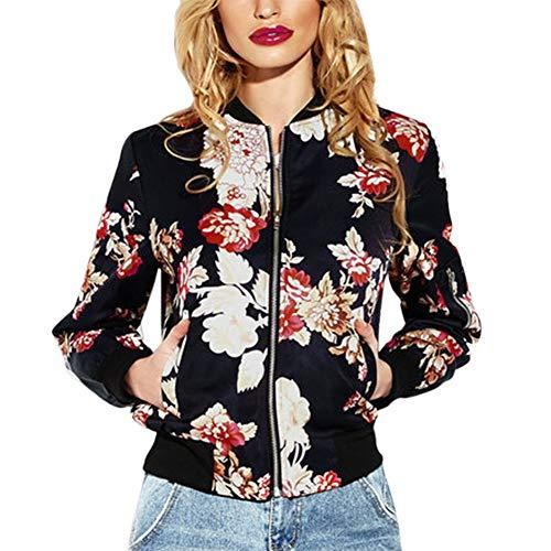 Dames bomberjack vintage mode lange mouwen bloemenprint outwear chic opstaande kraag casual elegante lenteherfstjas mantel