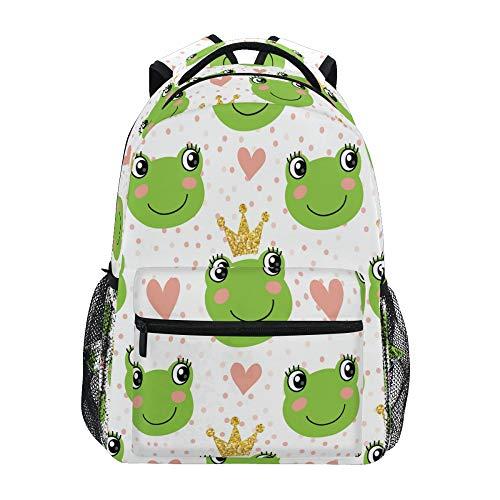 School Backpack ADMustwin Animal Frog Love Heart Polka Dot Travel Shoulders Bookbag Lightweight Waterproof College Laptop Backpack Elementary Large for Girls Boy Woman Man Teens