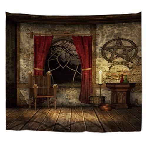 A.Monamour Tapices Vintage Antiguo Gótico Medieval Casa Pentagrama Símbolo Decoraciones Habitación Mística Tapicería De La Pared Tapices De La Pared Cortinas Manteles De La Mesa Cubre 180x230cm