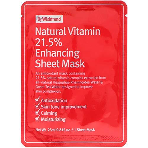 BY WISHTREND C21.5 Masque Tissu Anti-âge Natural Vitamin C Enhancing Sheet Mask 23g